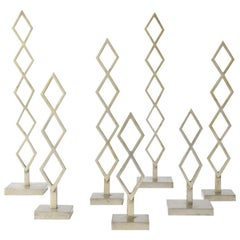Decorative Set of Metal Geometric Sculptures