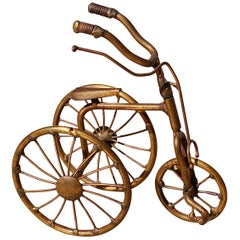 1970s Miniature Brass Tricycle Signed by Belgian artist D'Haeseleer