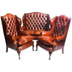 English Leather Queen Anne Sofa and Pair of Armchairs Burnt Amber