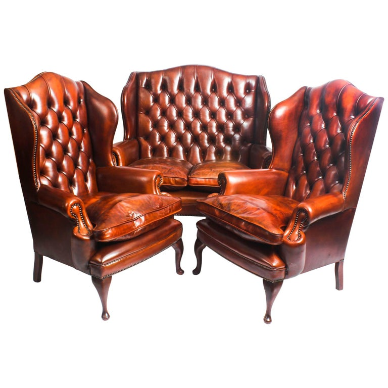 English Leather Queen Anne Sofa And Pair Of Armchairs Burnt Amber For