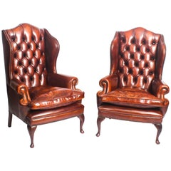 Pair of Leather Queen Anne Wingback Armchairs Burnt Amber