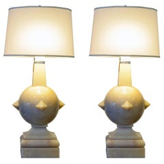 Pair of Late 20th Century Postmodern Carved Marble and Chrome Table Lamps