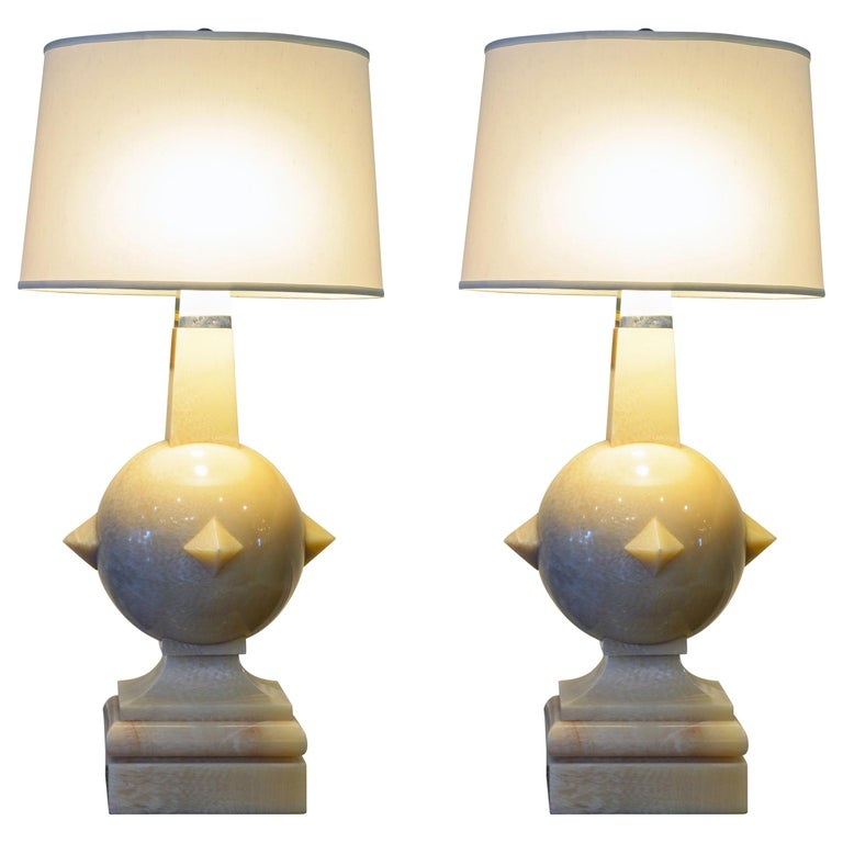 Pair of Late 20th Century Postmodern Carved Marble and Chrome Table Lamps For Sale