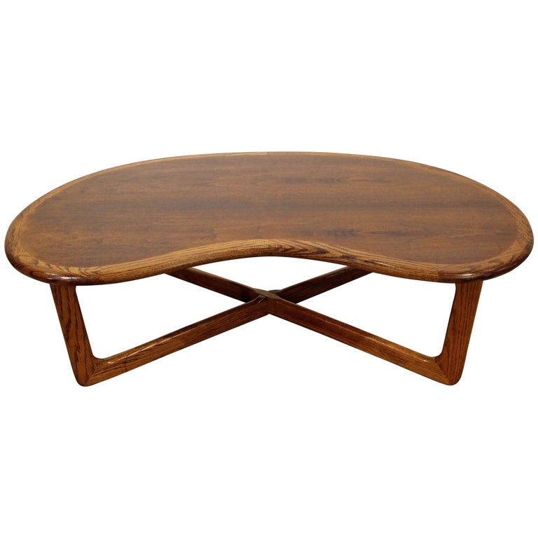 Mid-Century Modern Lane 'Perception' Walnut Kidney Coffee Table by Lane