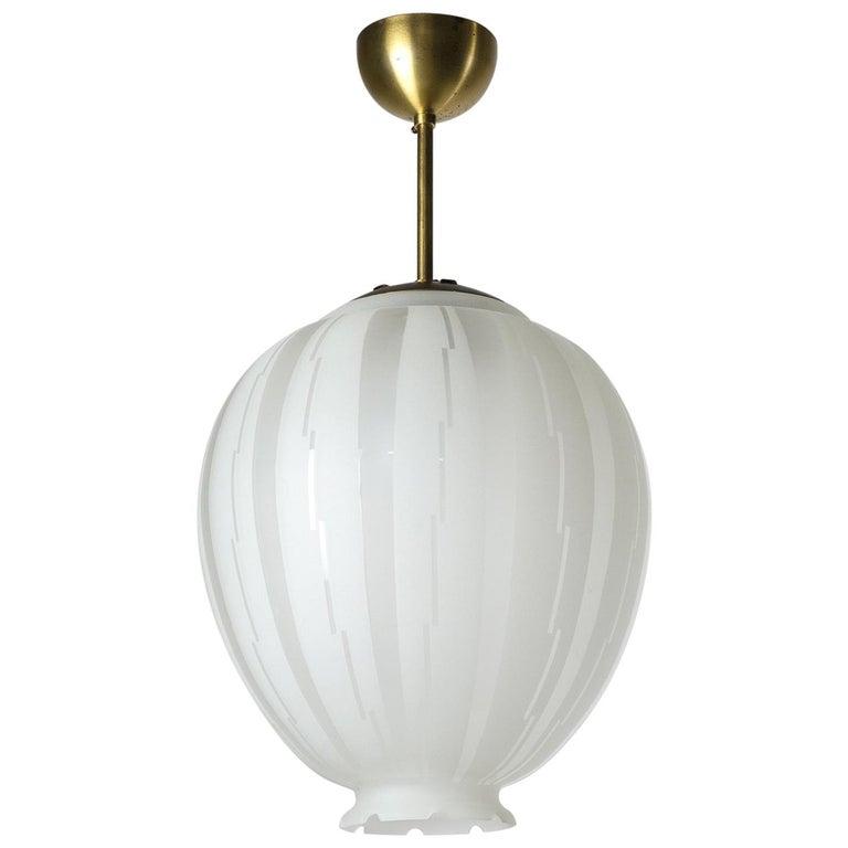 Swedish Art Deco Satin Glass Pendant, 1930s