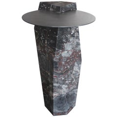 Lapidary Sculpted Drinks Table in Solid Bois du Jourdan Marble