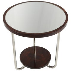 French Art Deco Side Table, circa 1930, Rosewood with Mirror Tabletop