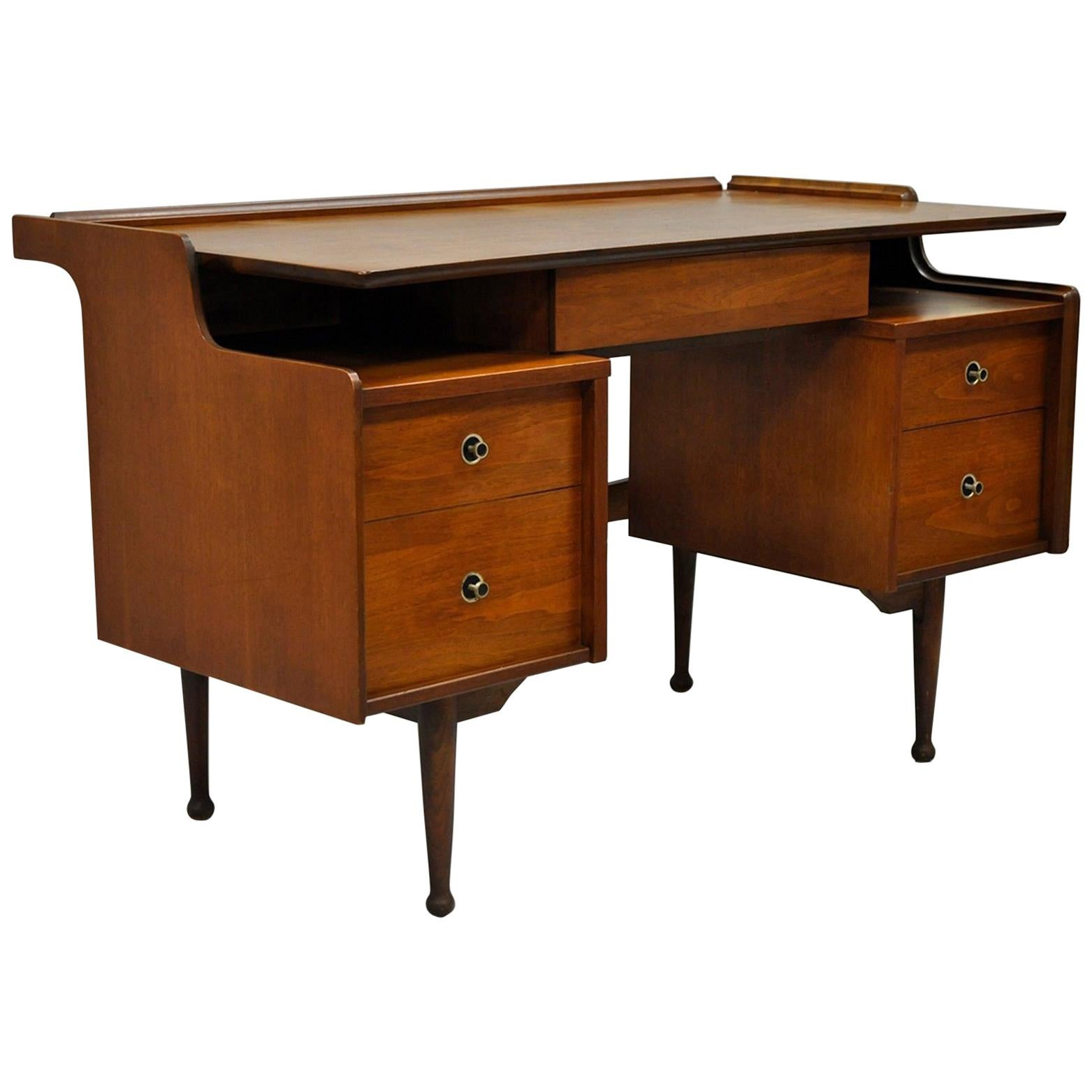 Hooker Mainline Walnut Floating Writing Desk Mid Century Modern Curved  Table For Sale