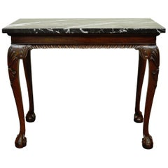 Vintage Carved Mahogany Chippendale Style Ball and Claw Marble-Top Console Table