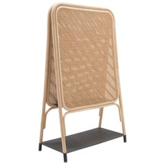 Rattan and Cane Screen Divider With ShelvesFrench Design