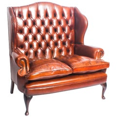 English Leather Queen Anne Club Settee Sofa Burnt Amber
