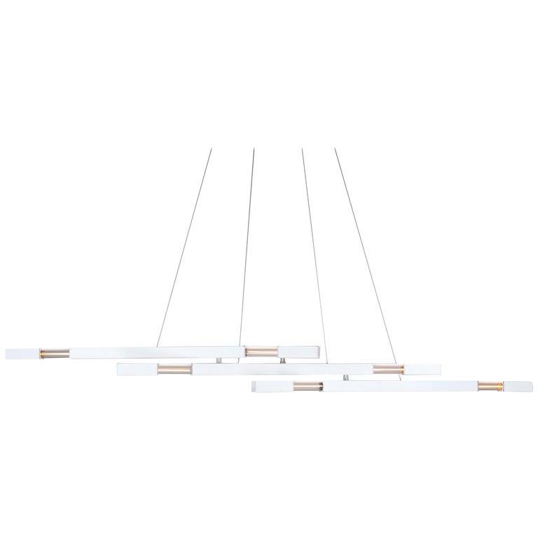 White Contemporary Modern Chandelier with Brass Details, Large Stilk Chandelier