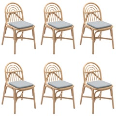 Set of Six Rattan Dining Chairs French Modern Design