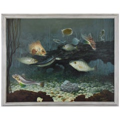 Art Deco Painting of Fish on the Bottom of the Sea A.R. Reyna, France, 1936