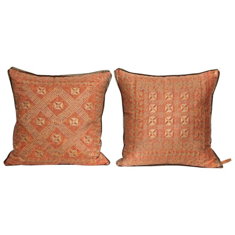 Fortuny Fabric Cushions in the Ashanti Pattern
