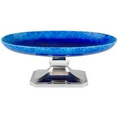Art Deco Blue Ceramic and Chrome Fruit Dish Paul Milet for Sèvres