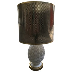 Mid-Century Modern Italian Ceramic Table Lamp with Acrylic Lampshade from 1970s