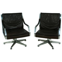 Leather Lounge Chairs by Rudolf Bernd Glatzel for Walter Knoll, 1970s Set of Two
