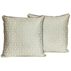 Pair of Fortuny Fabric Cushions in the Delfino Pattern