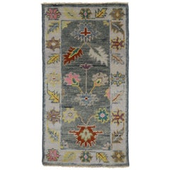 New Colorful Oushak Accent Rug with Contemporary Style