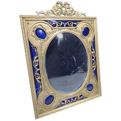 Antique French Rococo Gilt Bronze and Cobalt Enamel Picture Frame