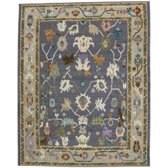 New Colorful Oushak Design Rug with Modern Contemporary Style, High-Low Pile
