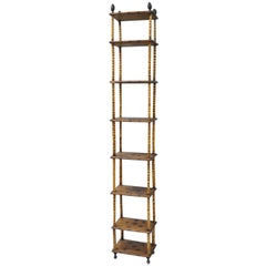 Tall Victorian English Charred Bamboo Stand Étagère Bookcase Narrow Shelf