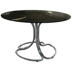 Italian Chrome Base Smoked Glass Top Dining Table by Giotto Stoppino from 1970s
