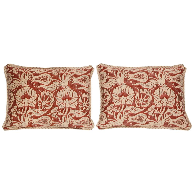 Pair of Lumbar Fortuny Fabric Cushions