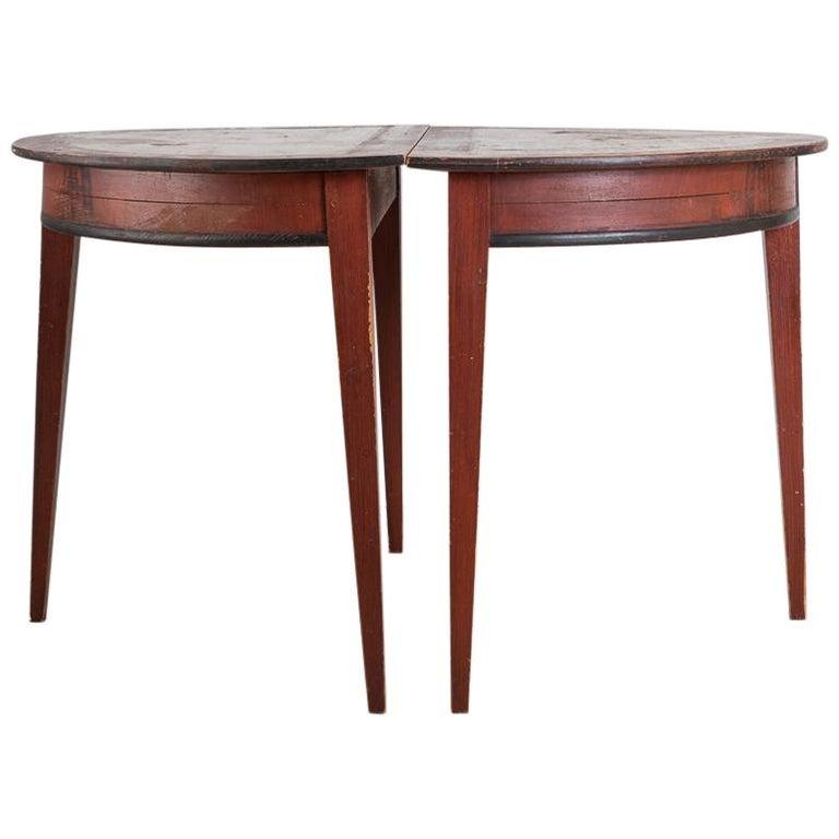 19th Century Swedish Demilune Table