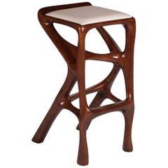 Chimera Barstool Solid Wood with White Leather and Stained Walnut by Amorph