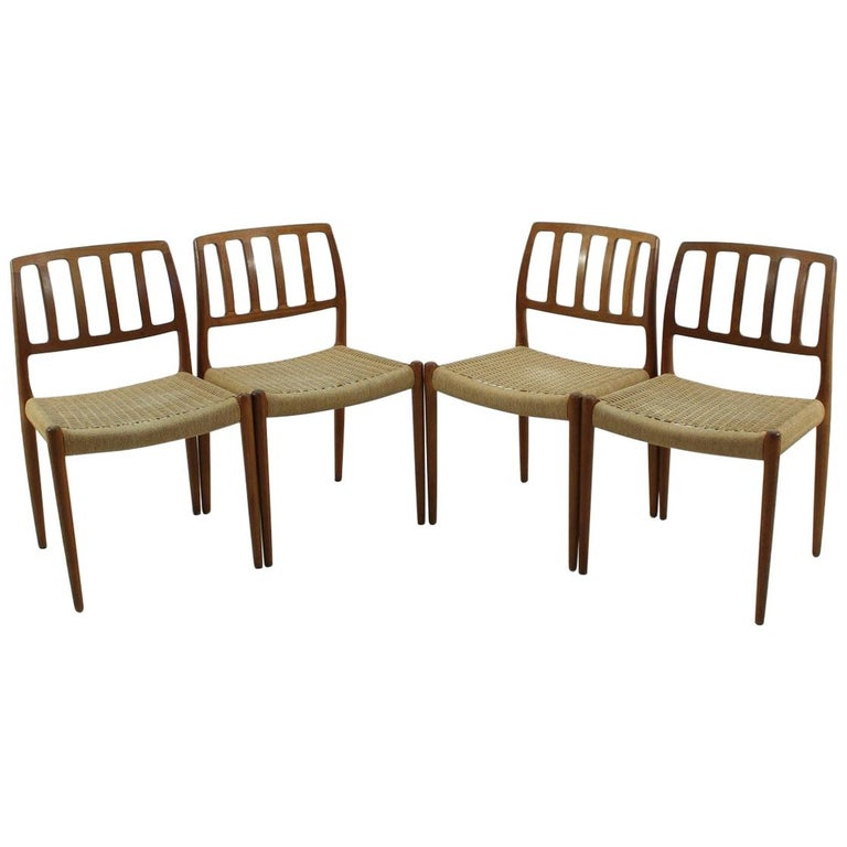 Vintage Model 83 Teak Dining Chairs Nils O. Møller for J.L. Møllers, Set of Four