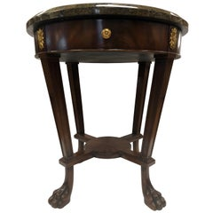 Maitland Smith Signed Mahogany, Marble and Brass Round Side Occasional Table