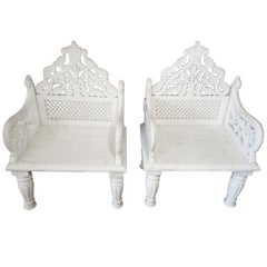 Pair of White Marble Palace Chairs