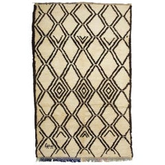 Vintage 1970s Beni Ourain Moroccan Shag Brown and White Rug