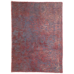 Distressed Vintage Turkish Accent Rug with Modern Industrial Luxe Style
