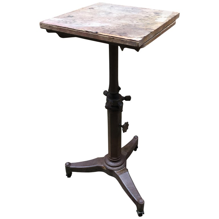 """1930s """"Karlo"""" Industrial Satellite Cast Iron Typewriter Stand"""