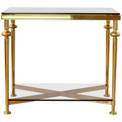 Midcentury French Solid Cast Brass Side / End Table Attributed to Maison Jansen