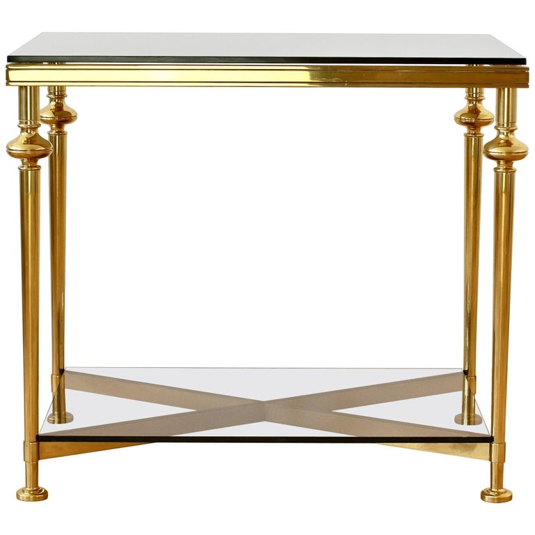 Mid-Century French Solid Cast Brass Side / End Table