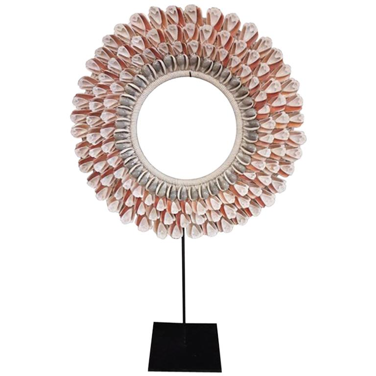 Seashell and Raffia Necklace from Indonesia, on Stand, Contemporary