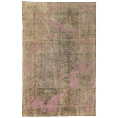 Distressed Vintage Turkish Area Rug with Modern Industrial Luxe Style