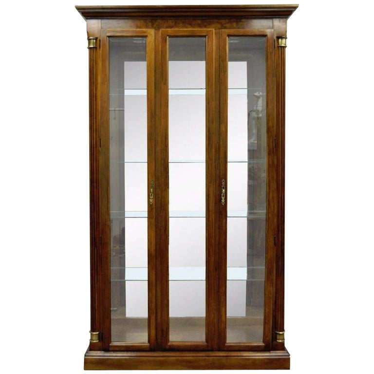 Vintage Pulaski Cherry Lighted Mirrored Curio Display Cabinet Bookcase For