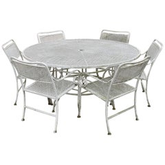 Seven-Piece Cast Aluminium Scroll Arm Metal Patio Dining Set Table & Six Chairs