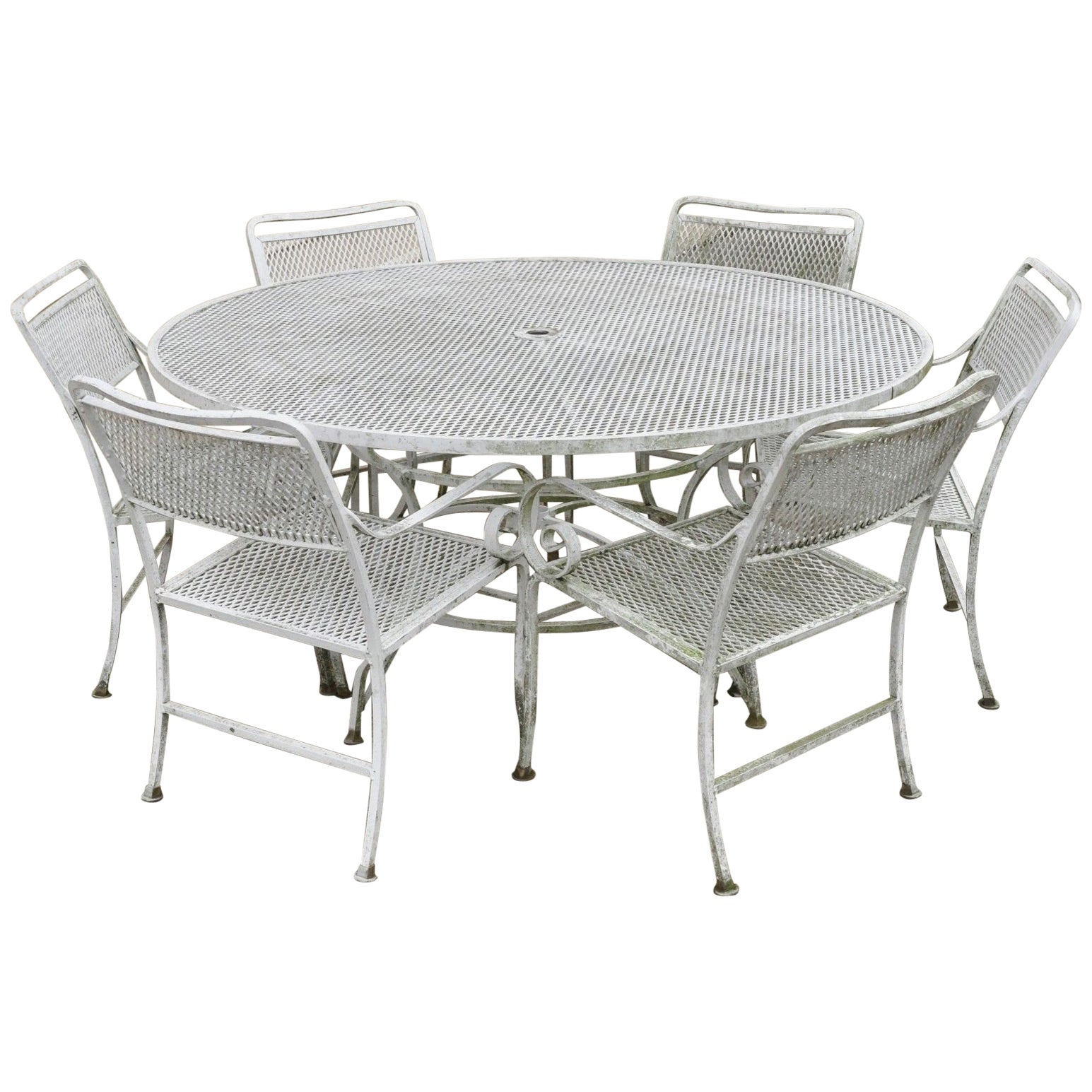 Seven piece cast aluminium scroll arm metal patio dining set table and six chairs for sale at 1stdibs