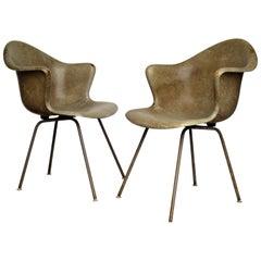 Sculptural Modernist Fiberglass Bucket Chairs