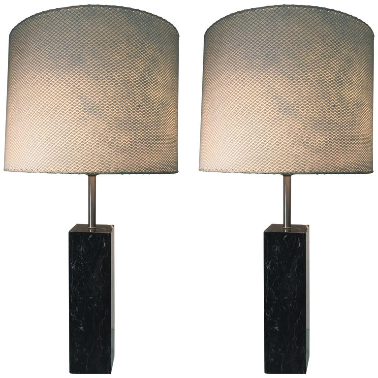 Pair of Black Marble Rectangular Black Marble Lamps Designed by Nessen Lamps