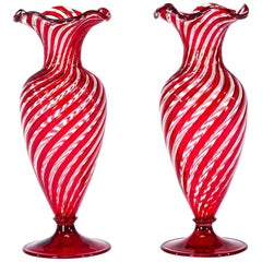 Pair of Handblown Venetian Red & Clear Optic Swirl Vases Attributed to Salviati