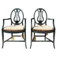 Pair of Hand-Painted, Lyre Back Baker Furniture Chairs