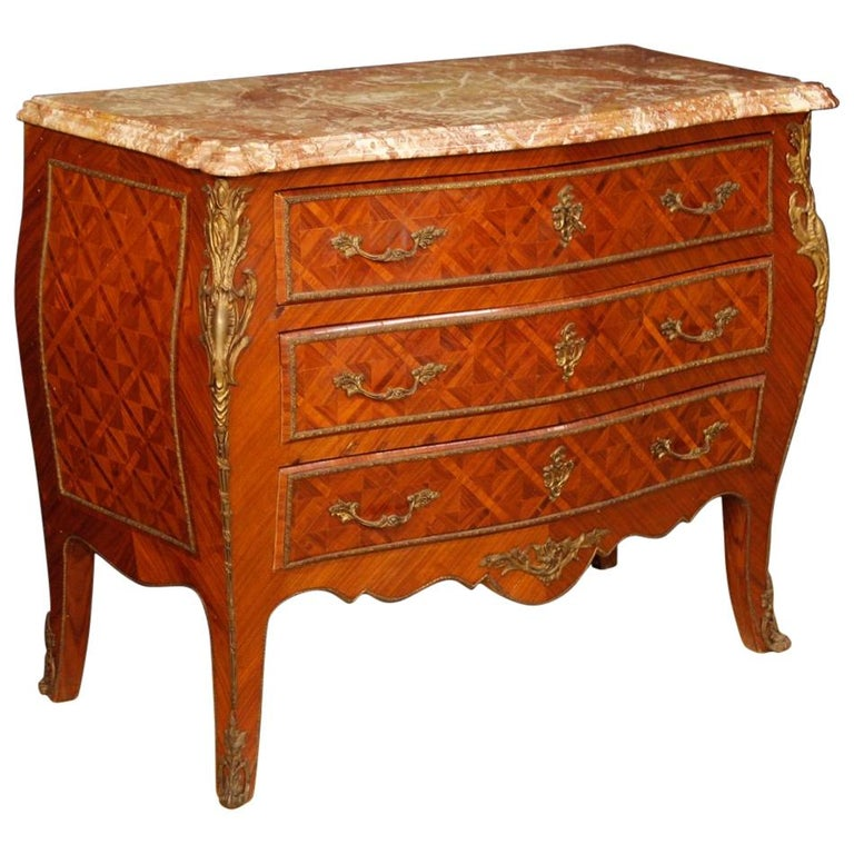 French Inlaid Chest of Drawers in Louis XV Style from 20th Century