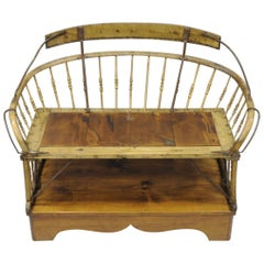 Antique Buggy Bench Hall Seat Sleigh Primitive Folk Art Wagon Wood and Iron
